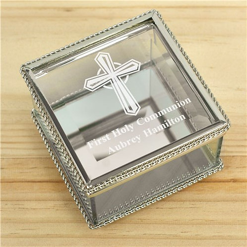 Engraved Cross First Communion Glass Jewelry Box