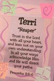 T - Z Female Daydream Name Card with Bible Verse