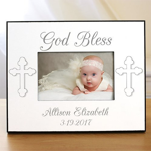 Christening Picture Frame Engraved with God Bless and Baby's Name