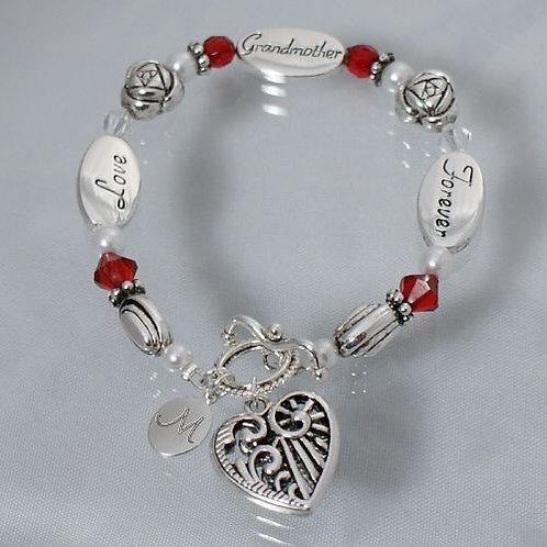 Personalized Grandma Crystal Bead Bracelet