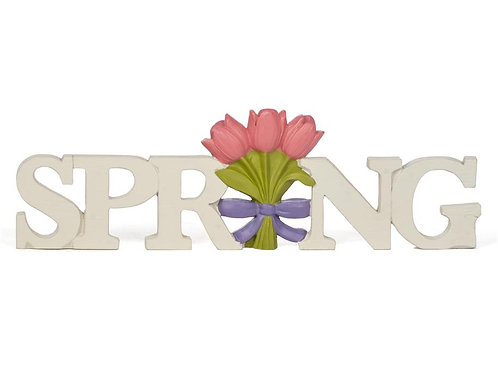 Spring Block Sign with Tulips