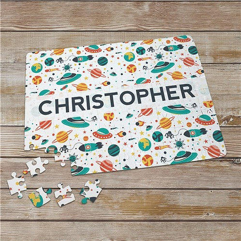 Personalized Boy Space Jigsaw Puzzle with Any Name
