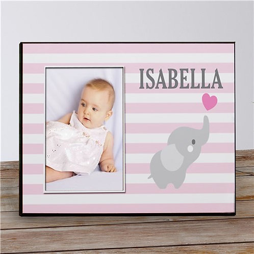 Baby Elephant Pink Striped Photo Frame Personalized