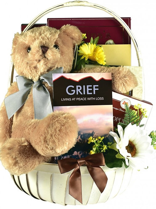 Sympathy Gift Basket Cuddles for Comfort Filled with Snacks
