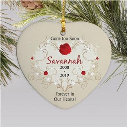 Ceramic Heart Personalized Memorial Ornament