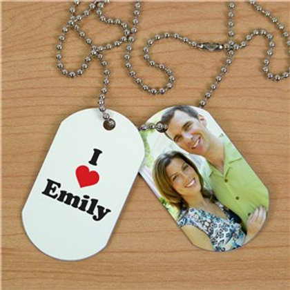 Custom I Love Photo Dog Tags