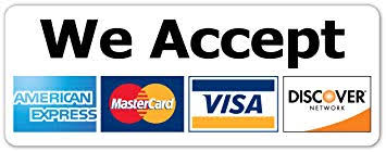 We Accept All Major Credit Cards - AMERICAN EXPRESS - MASTER CARD - VISA - discover