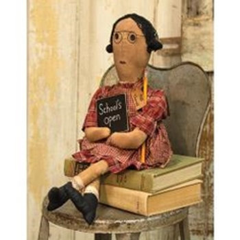 "Primitive Miss Thomas 11.5"" Sitting Teacher Doll"