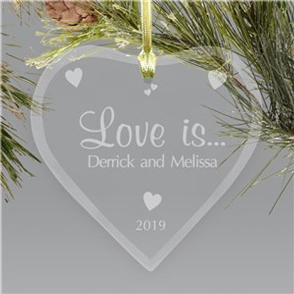 Couples Heart Glass Christmas Ornament
