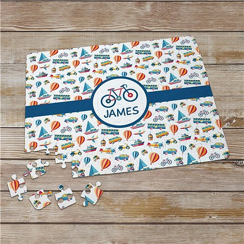 Child Personalized Transportation Jigsaw Puzzle with Any Name