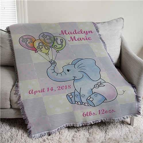Baby Elephant Personalized Tapestry Throw
