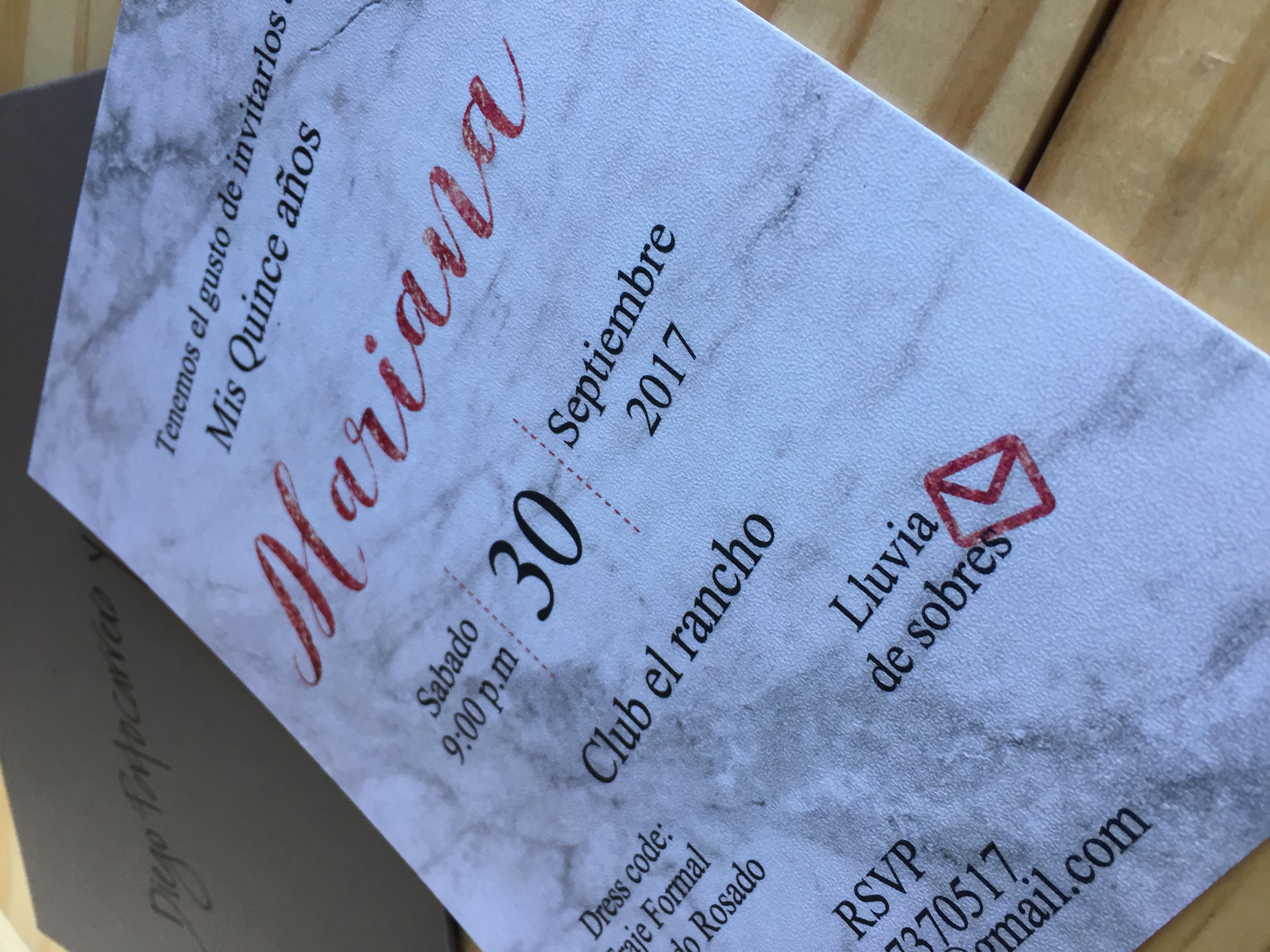 Diseño marmol invitaciones