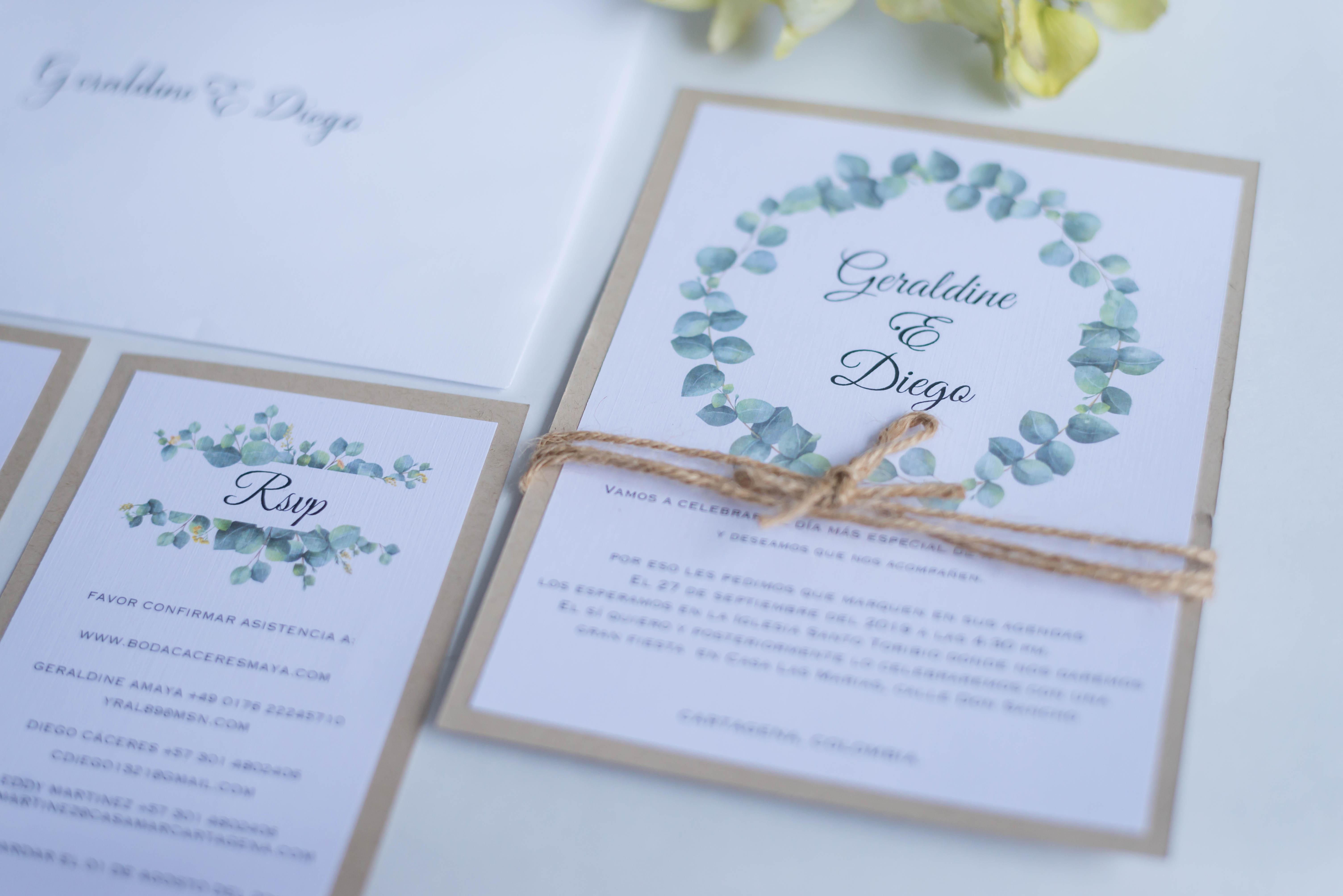 Invitaciones eucalipto