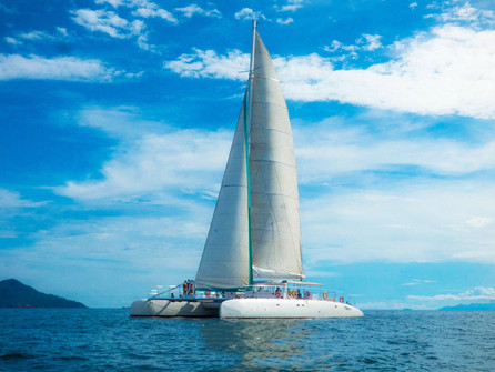 exterior view of 78ft catamaran for boat party in panama