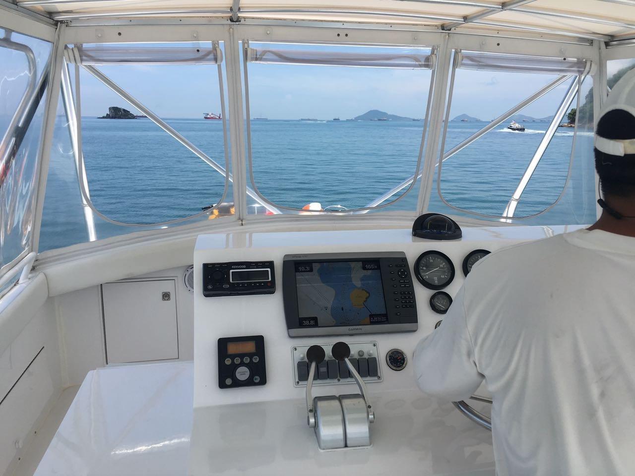 upper deck on 58ft bertram boat rental in panama