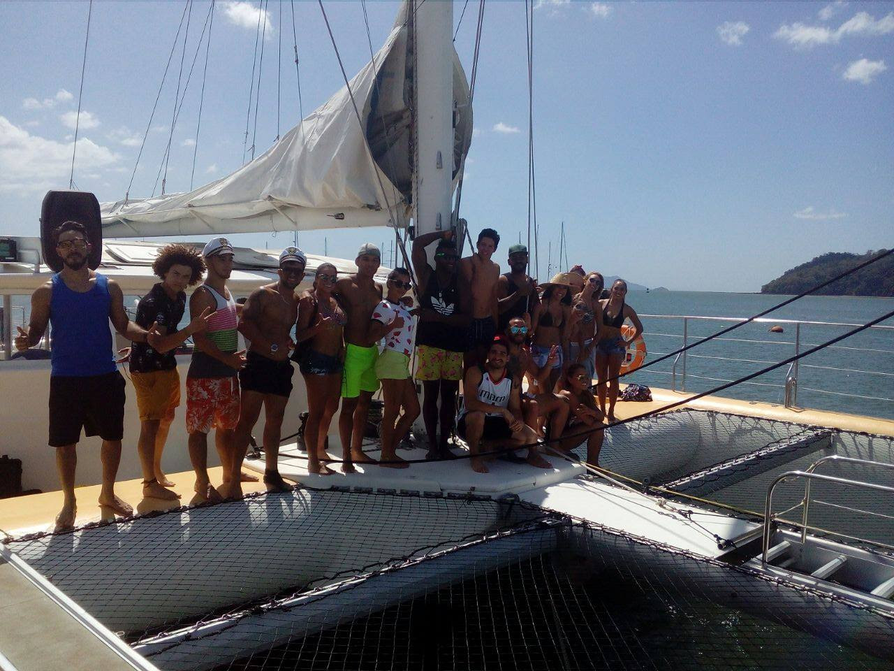 group on 78ft catamaran for boat party in panama