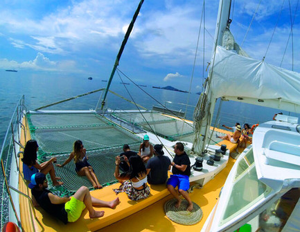 bow of 78ft catamaran for boat party in panama