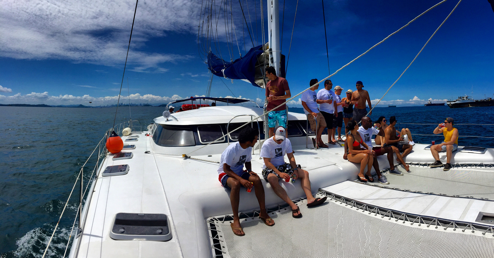 stag party on 57ft fountaine pajot catamaran rental in panama