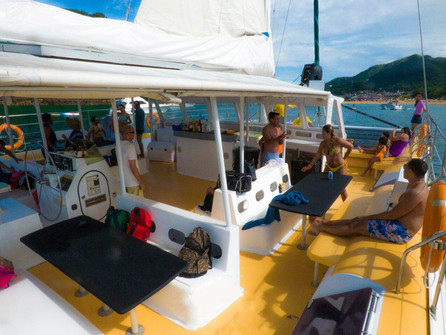 open deck of 78ft catamaran for boat party in panama