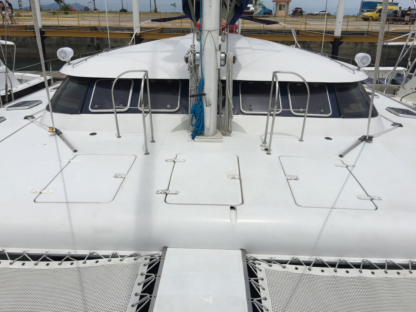 exterior view of 57ft fountaine pajot catamaran rental in panama