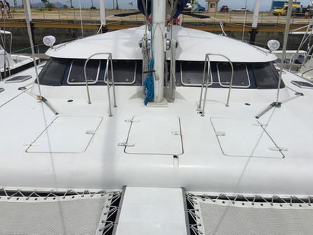 Vista exterior del alquiler de catamarán fountaine pajot de 57 pies en panamá