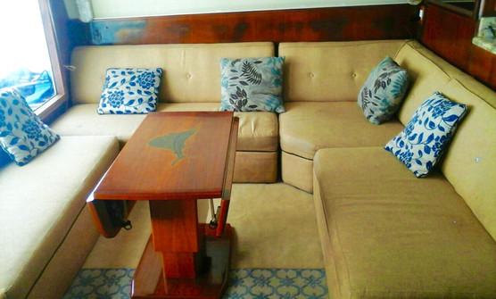 interior on 58ft bertram boat rental in panama