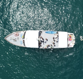 aerial view of 78ft rowley marine yacht charter in panama