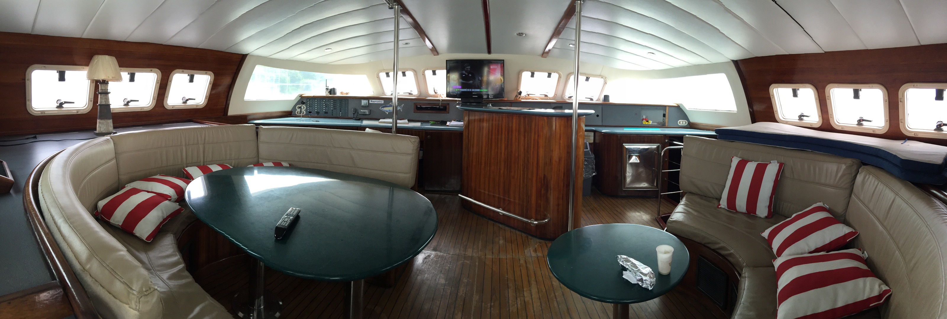 interior view of 57ft fountaine pajot catamaran rental in panama