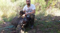 José María Rodríguez y su perro Rufo
