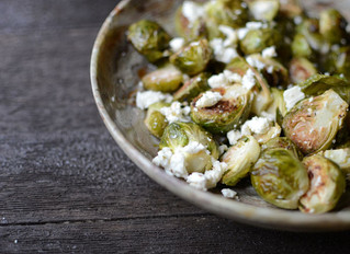 Roasted Brussel Sprouts with Quinoa & Feta