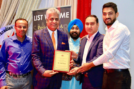 15th Sep 2017 PCCA BC honors Mr.Sukhi Bath with Community Support Award