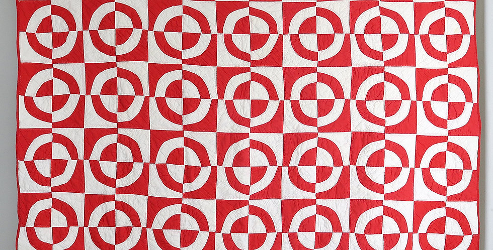 Red and White Fair Play Meridian Quilt