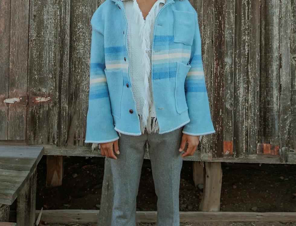Woolen Mills Striped Wool Camp Blanket Jacket (XL)