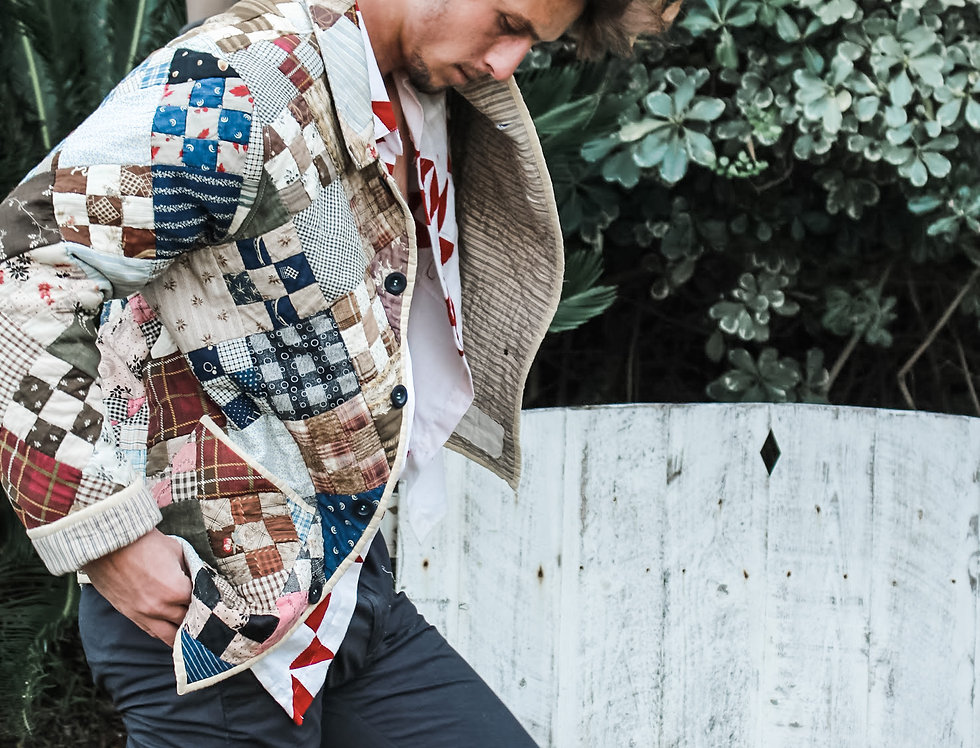Diagonal Checkerboard Quilt Jacket (L)