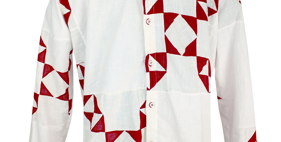Red and White 9 Patch Quilt Top Shirt