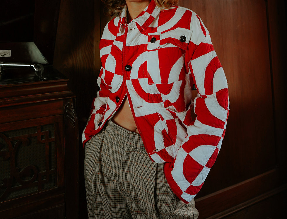 Red and White Fair Play Quilt Jacket (S)