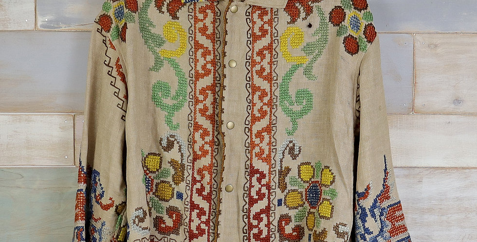 Embroidered Linen TableCloth Overshirt (M)