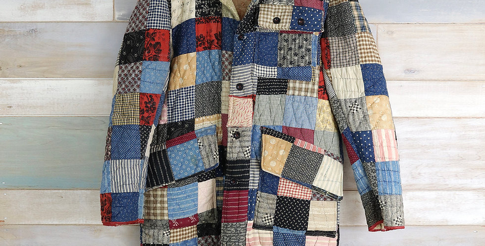 c.1900 Stacked Block Patchwork Quilt Trench Coat
