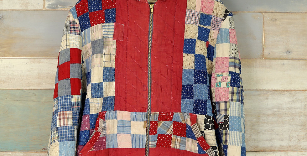 1920s One-Patch Quilt Front Zip Jacket