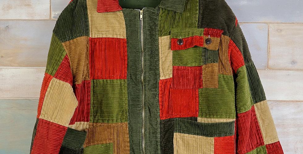 Corduroy Patchwork Quilt Jacket (L)