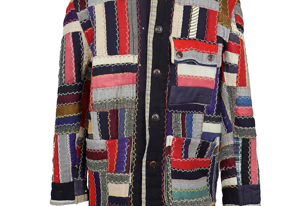Wool Square Patch Quilt Coat