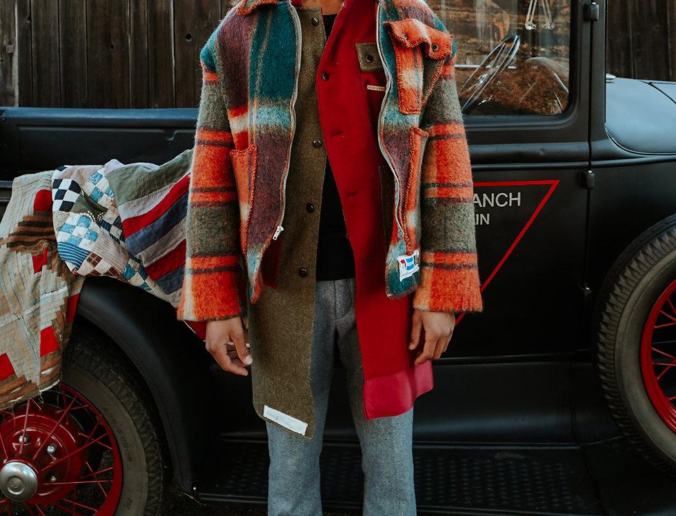 Dutch Plaid Wool Blanket Jacket (L/XL)