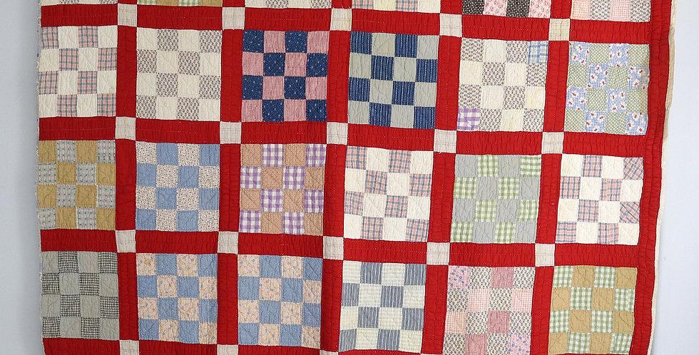 c.1900 Prim Calico 16 Patch Block Quilt