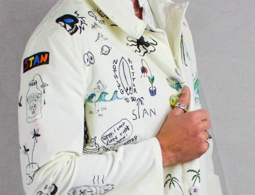 White Corduroy Surf Inspired Jacket
