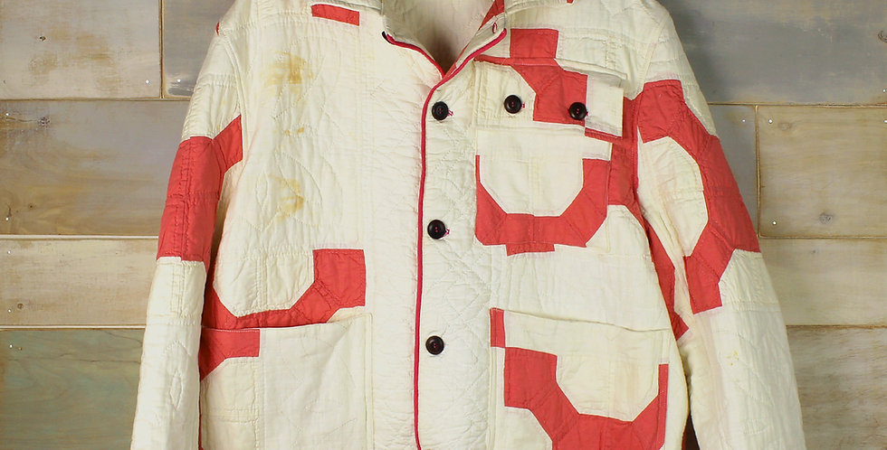 Faded Red and White Bow Tie Quilt Jacket (S, L)