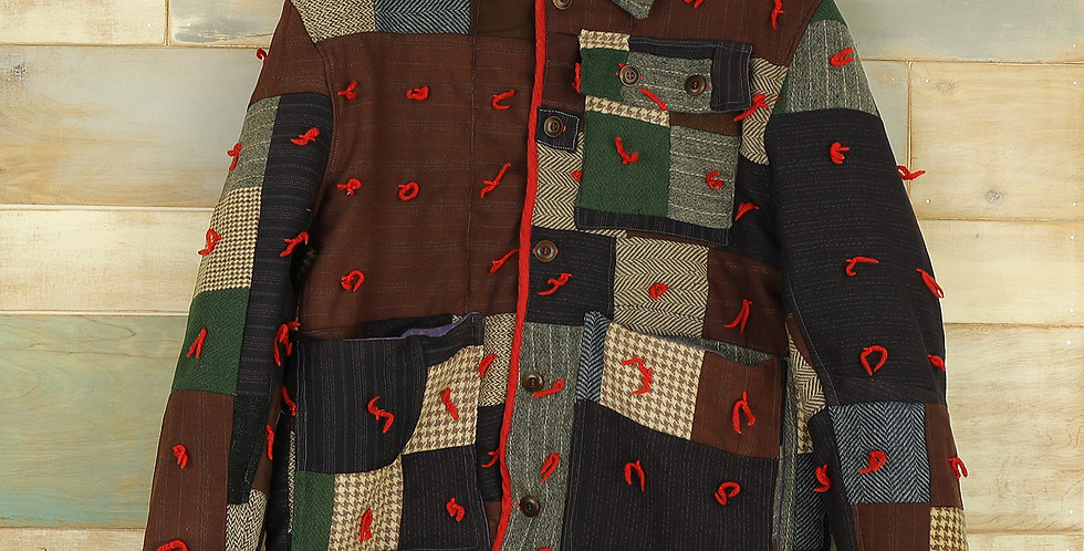 Missouri Wool Suiting Square Patchwork Quilt Jacket (M, M/L)