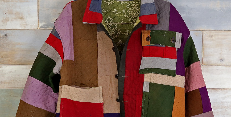 C.1890 Amish Wool Quilt Jacket (M)