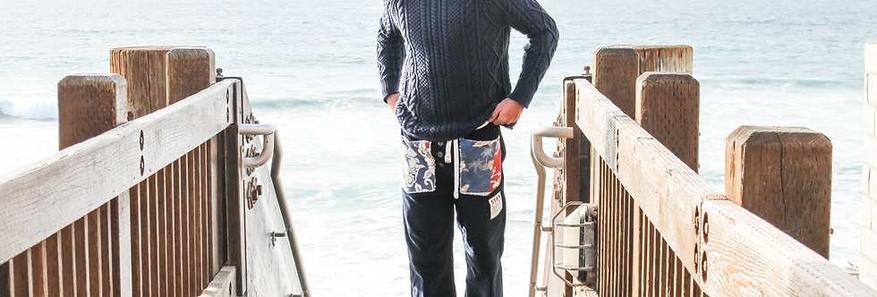 Corduroy and Quilt Drawstring Beach Trousers