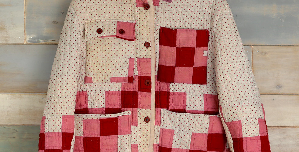 Red White and Pink Ocean Waves Quilt Jacket (M/L)