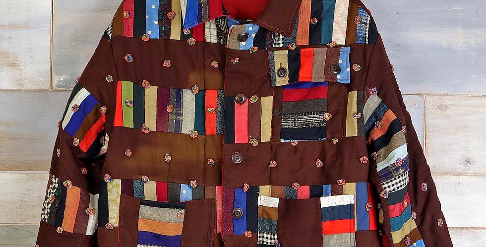 C.1910 Stacked Block Quilt Jacket (M)